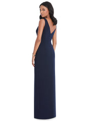 Stretch Crepe Low V-Back Dress Formal Dress Style 6799 - Chicago Bridal Store Company