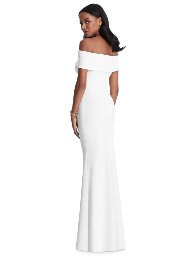 Off the Shoulder Stretch Crepe Formal Dress Style 6800 - Chicago Bridal Store Company