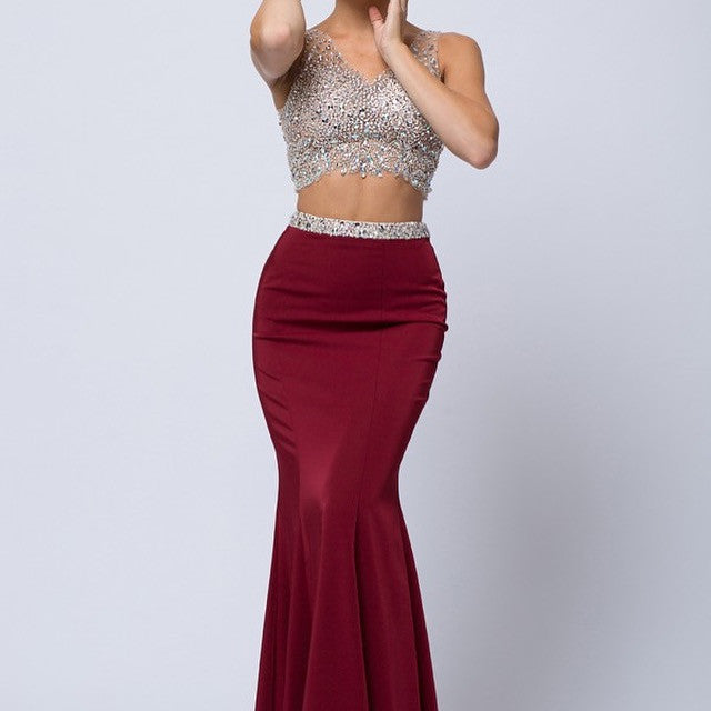 2-Piece Formal Size 12 Burgundy Gown - Chicago Bridal Store Company