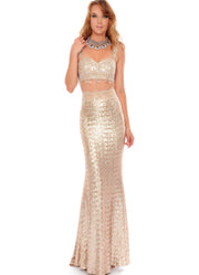 2-Piece Glamorous Gold Dress - Chicago Bridal Store Company