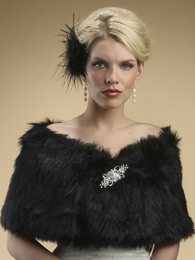 Jet Black Faux Fur Shawl Wrap - Chicago Bridal Store Company
