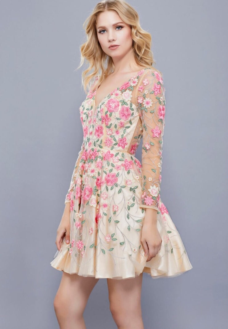 Floral Open Back Sheer Sleeve Short Dress - Chicago Bridal Store Company