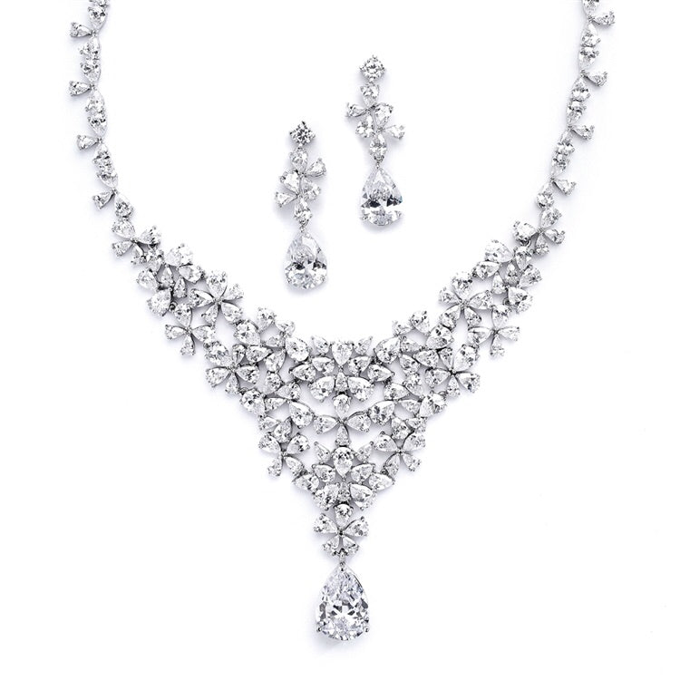 Red Carpet CZ Wedding or Pageant Statement Necklace Set