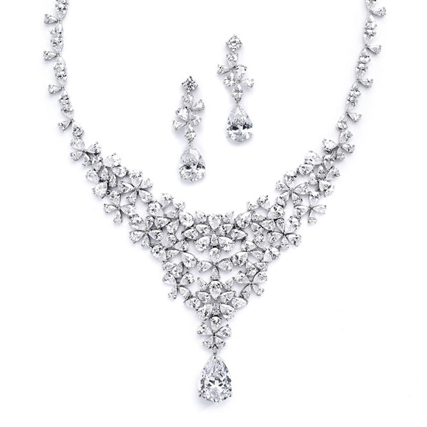 Red Carpet CZ Wedding or Pageant Statement Necklace Set - Chicago Bridal Store Company