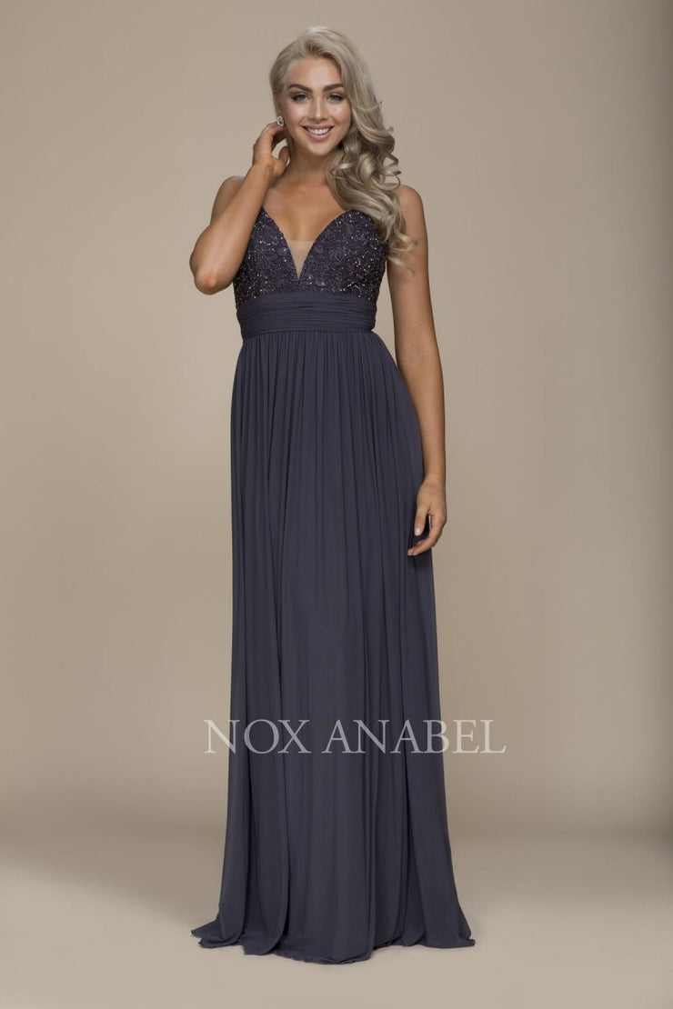 Steel Gray Floor Length Dress  Prom Collection - Chicago Bridal Store Company