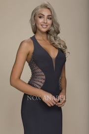 Prom 2018 Steel Gray Long Illusion Dress - Chicago Bridal Store Company