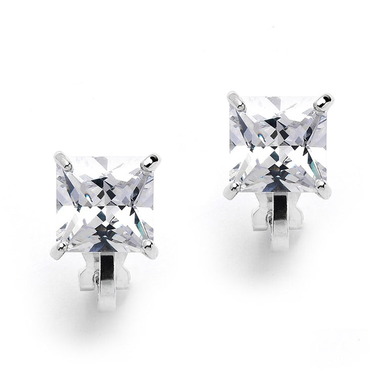 Clip-On Earrings with 2 Carat 8mm Princess Cut CZ Solitaire - Chicago Bridal Store Company