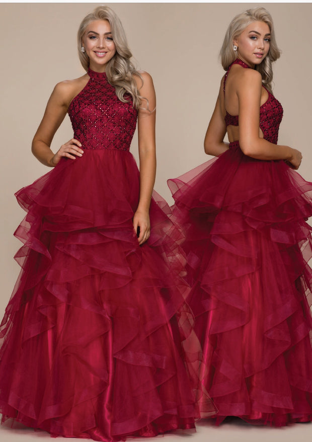 Burgundy Tulle Layered Full Length Dress - Chicago Bridal Store Company