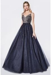 Navy Glitter Formal Ball Gown - Chicago Bridal Store Company