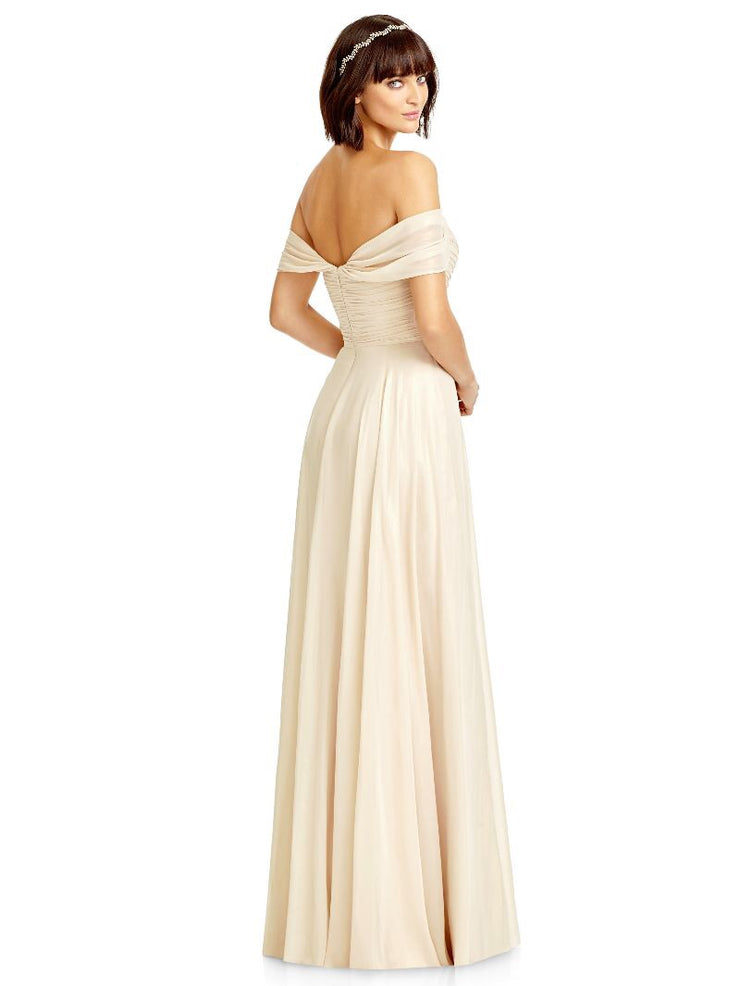 Dessy 2970 Off Shoulder Lux Chiffon Bridesmaids Dress - Chicago Bridal Store Company