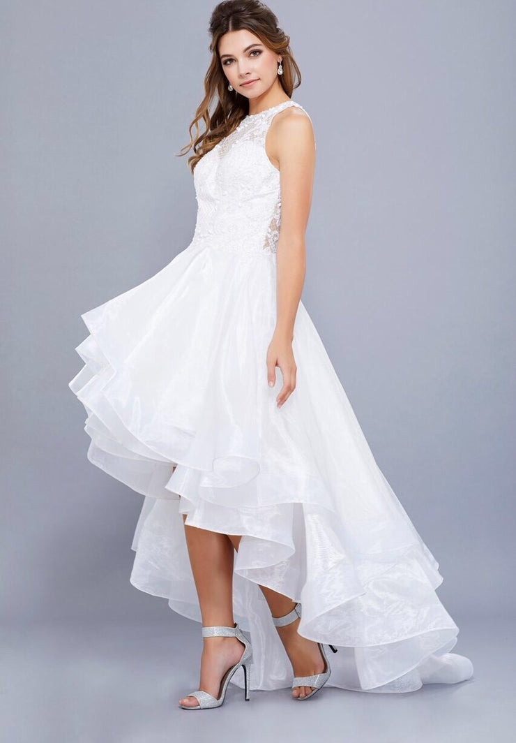 White Hi-Lo Dress with High Neckline - Chicago Bridal Store Company