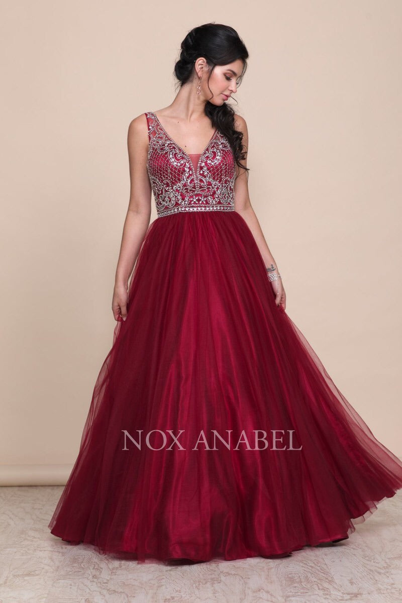 Burgundy Tulle Ball Gown -2018 Prom