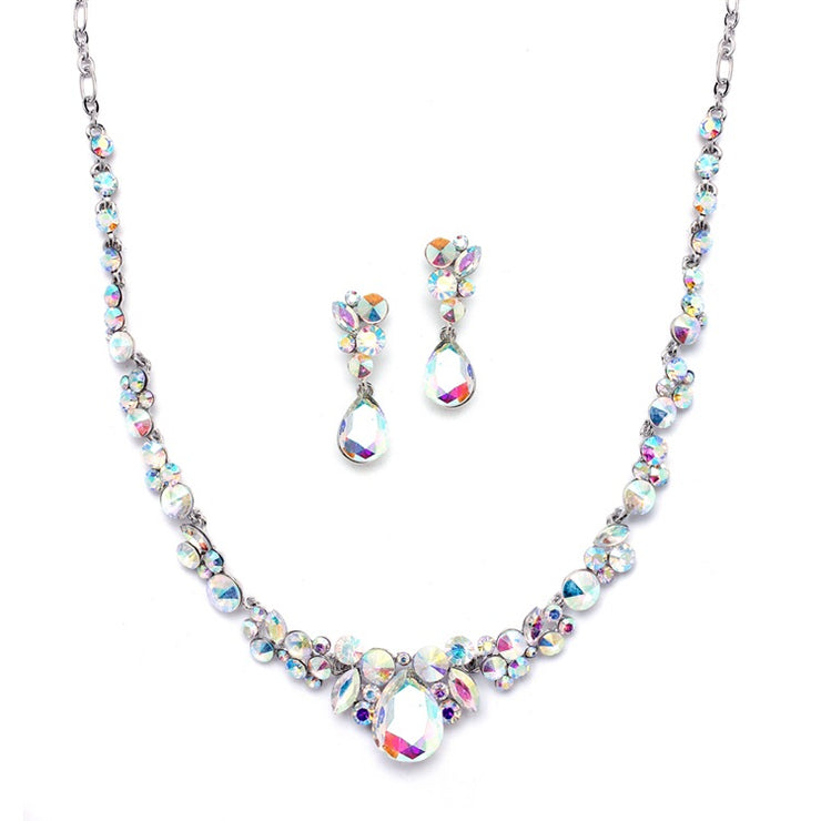 Regal AB Crystal Bridal or Prom Necklace & Earrings Set - Chicago Bridal Store Company