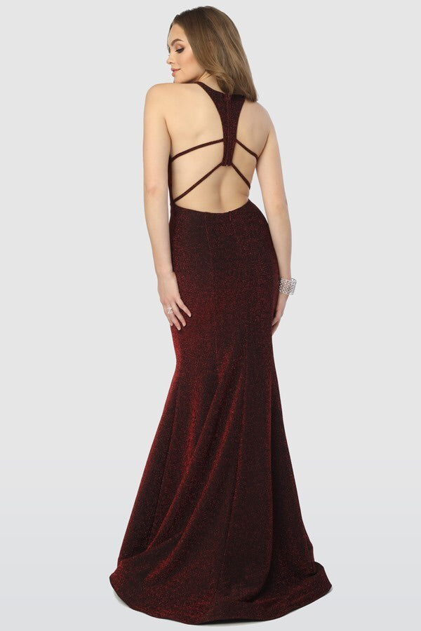 Sasha Burgundy Glitter Mermaid Gown - Chicago Bridal Store Company