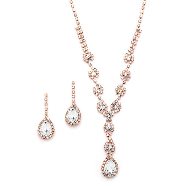 Rose Gold Dramatic Rhinestone Prom or Wedding Necklace Set with Pear Drops 4231S-RG - Chicago Bridal Store Company