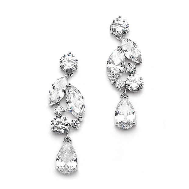 Cubic Zirconia Mosaic Wedding Earrings with Teardrop - Chicago Bridal Store Company