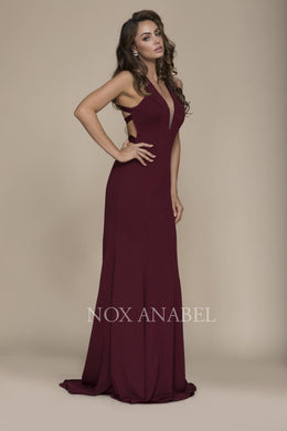 Burgundy Stunning V-Neck Dress with detailed Cross Back