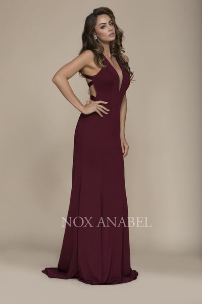 Burgundy Stunning V-Neck Dress with detailed Cross Back - Chicago Bridal Store Company