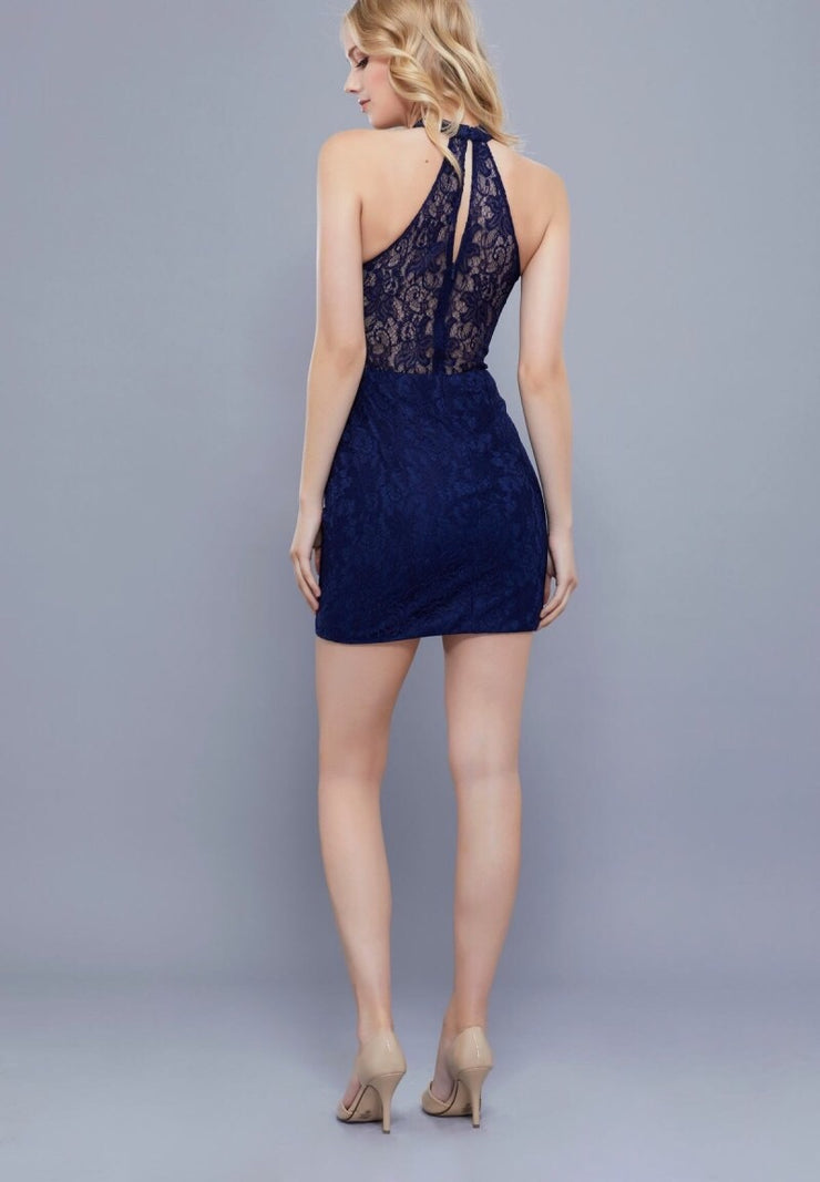 Navy Lace Short Halter Dress - Chicago Bridal Store Company