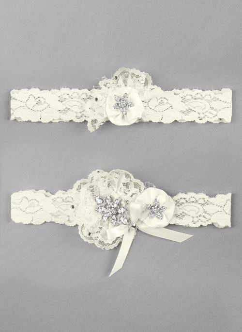 Scattered Rhinestone Garter Set- White or Ivory Chicagobridalstore.com - Chicago Bridal Store Company