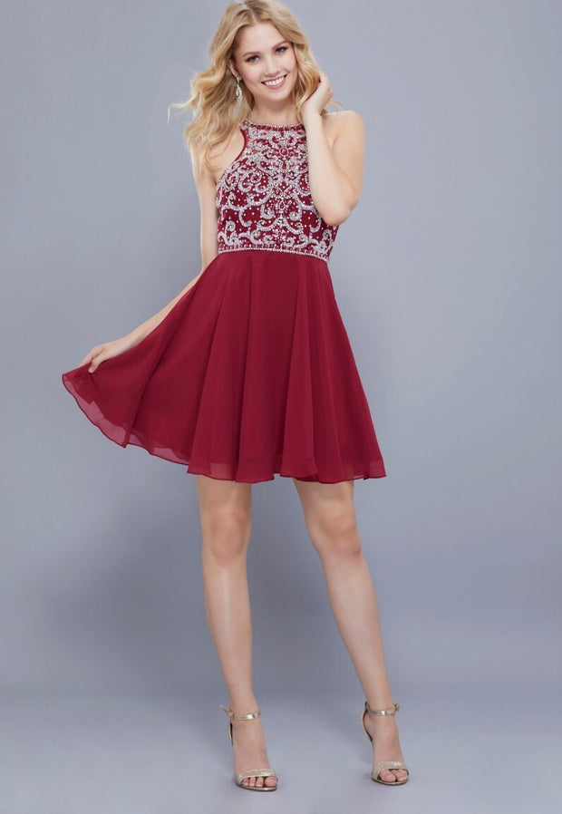 Burgundy Glamour Bodice Short Dress - Chicago Bridal Store Company