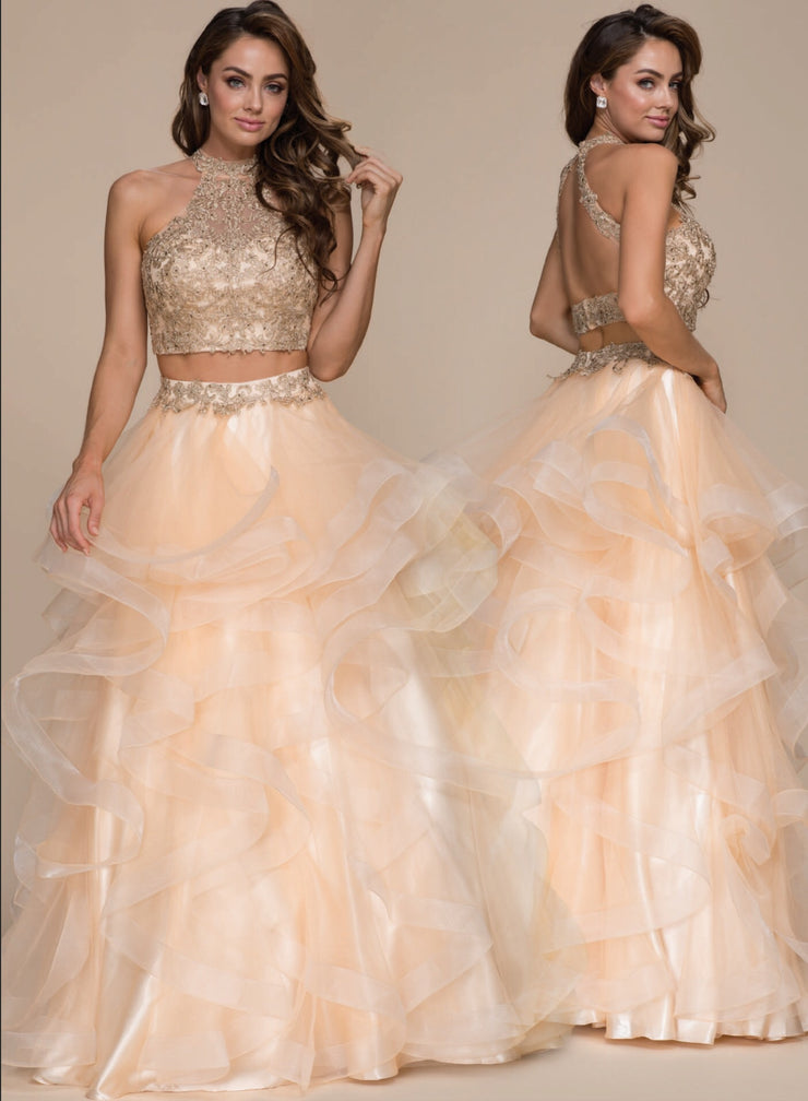 Gold 2-Piece Detailed Bodice  Formal Dress - Chicago Bridal Store Company