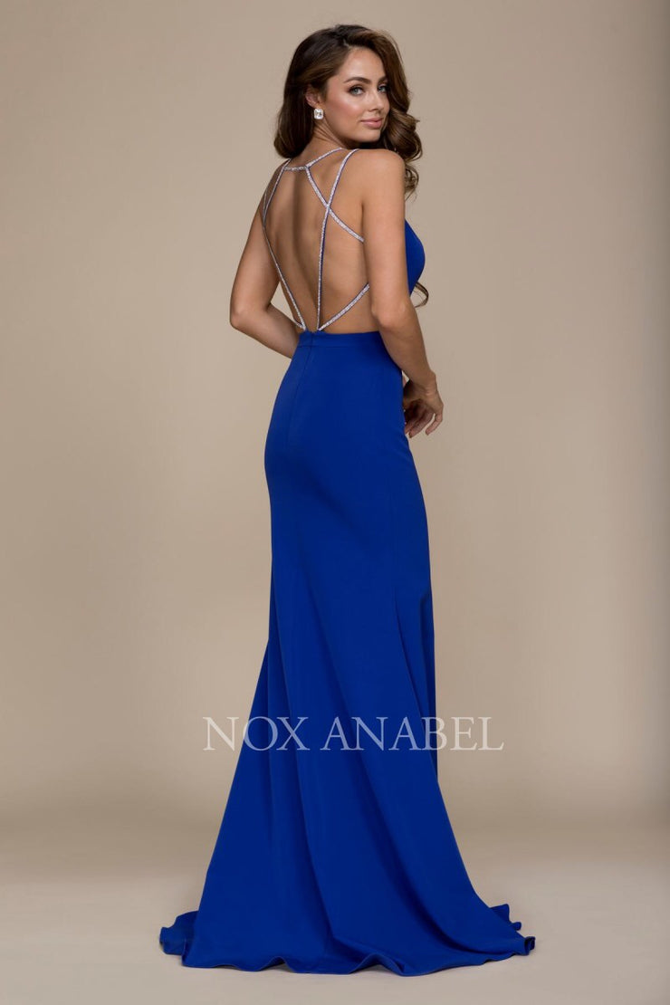 Royal Blue V-Neck Open Back Long Dress  Prom Collection - Chicago Bridal Store Company