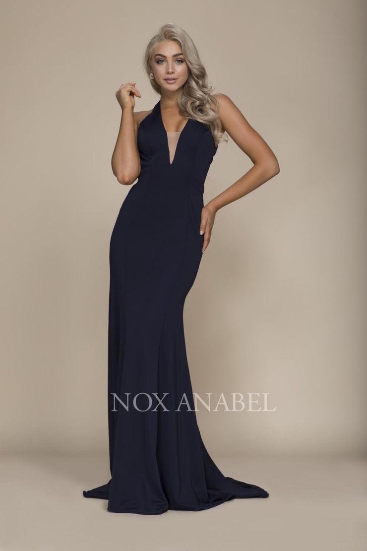 Navy Stunning V-Neck Dress with detailed Cross Back - Chicago Bridal Store Company