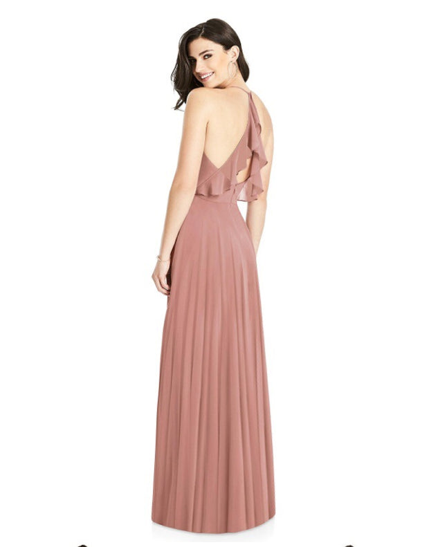 Ruffle Lux Chiffon Full Length Dress
