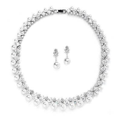 Glamorous CZ and White Pearl Wedding Necklace and Earrings Set - Chicago Bridal Store Company