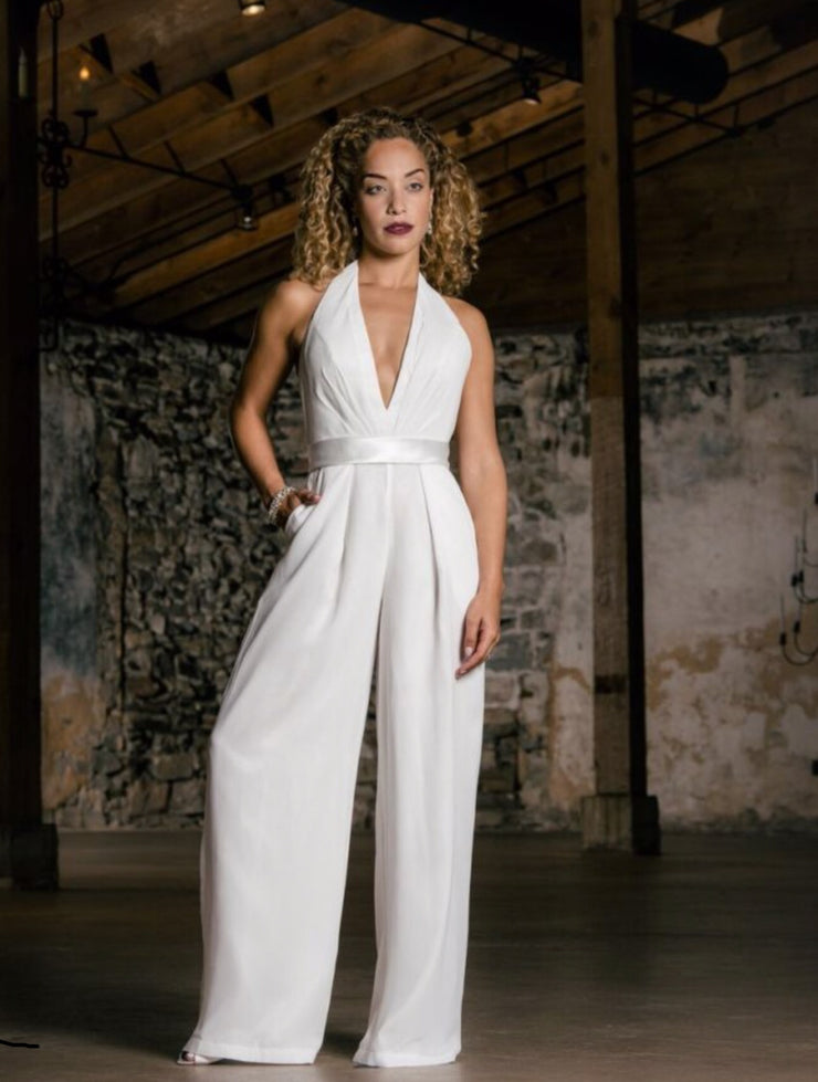 V Neck 2019 Bridal Jumpsuit