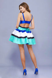 Royal Color block Sleeveless Bateau Mikado Short Dress - Chicago Bridal Store Company