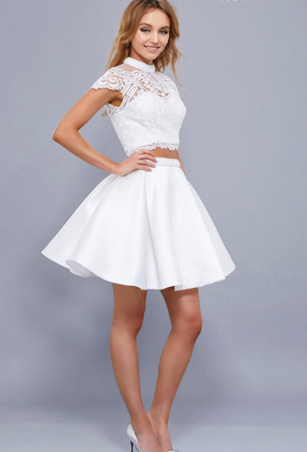 White Short Two Piece Satin Dress & Lace Top - Chicago Bridal Store Company