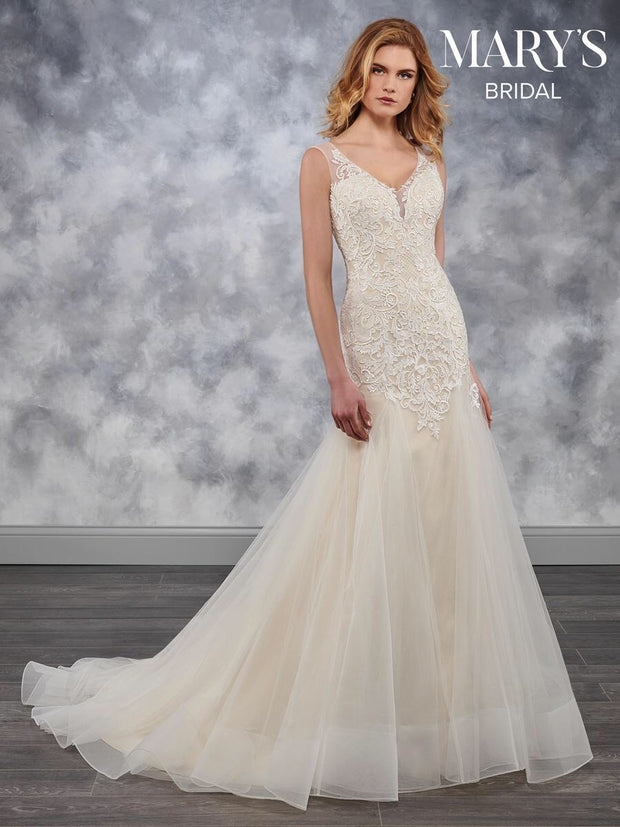 Fit & Flare Chapel Train Wedding Dress - Chicago Bridal Store Company
