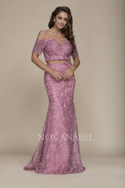 2-Piece Off Shoulder Mauve Pink 2018 Prom Dress - Chicago Bridal Store Company