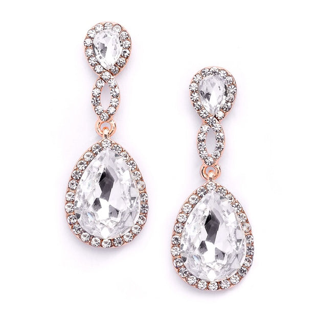 Home > New Arrivals! > Top-Selling Rose Gold Crystal Teardrop Earrings with Braided Top - Chicago Bridal Store Company