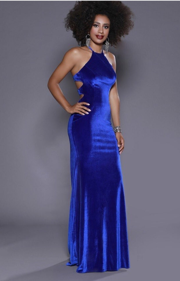 Blue Velvet Long Dress - Chicago Bridal Store Company