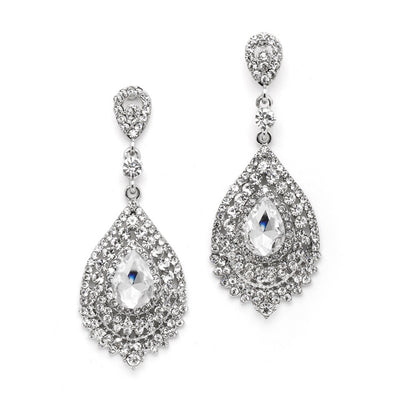 Dramatic Sliver Crystal Statement Earrings - Chicago Bridal Store Company