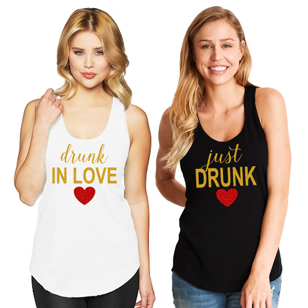 Drunk in Love & Just Drunk Racerback Tank Top - Chicago Bridal Store Company