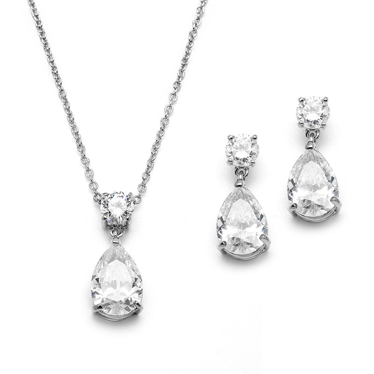 Cubic Zirconia Teardrop Bridal or Bridesmaids Necklace Set - Chicago Bridal Store Company