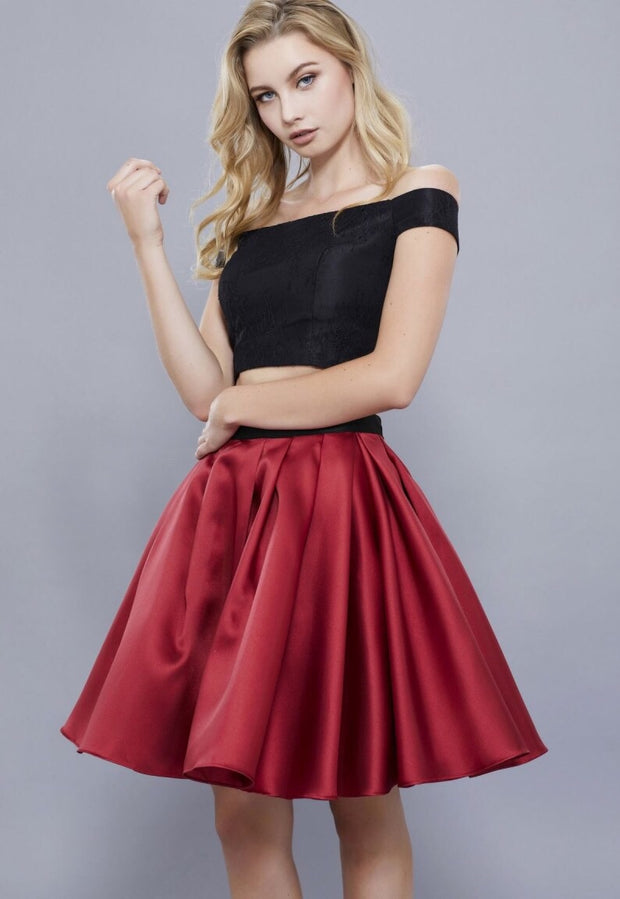 BURGUNDY & BLACK TWO PIECE DRESS WITH OFF THE SHOULDER TOP - Chicago Bridal Store Company