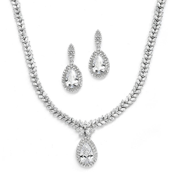 Regal CZ Bridal Necklace and Earrings Set with Marquise & Pear Shaped Drop - Chicago Bridal Store Company