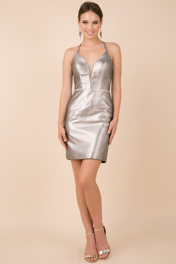 Sliver Cocktail Length Dress - Chicago Bridal Store Company