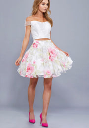 2 Piece Off Shoulder White Top & Floral Skirt Dress - Chicago Bridal Store Company