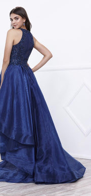 Blue Hi-Lo Dress with High Neckline - Chicago Bridal Store Company