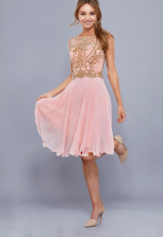 Bashful Pink Short Chiffon Dress with Gold Bodice - Chicago Bridal Store Company