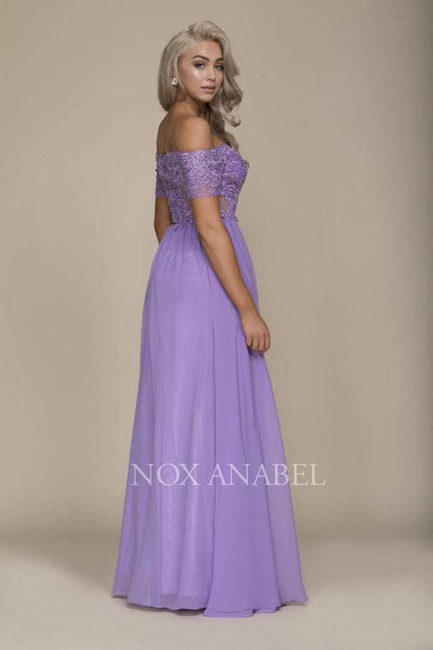 Lavender Off Shoulder  Prom Dress - Chicago Bridal Store Company