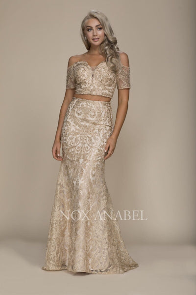 2-Piece Off Shoulder Gold Prom Dress - Chicago Bridal Store Company