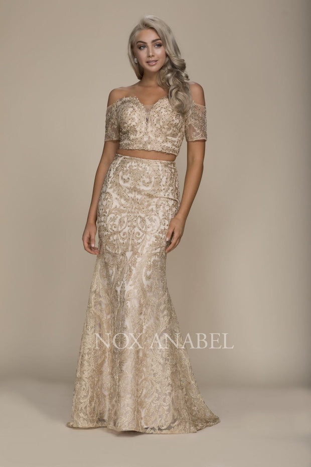 2-Piece Off Shoulder Gold 2018 Prom Dress - Chicago Bridal Store Company