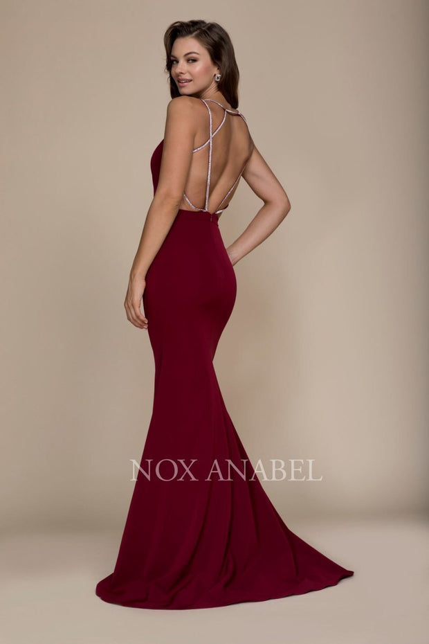 Burgundy V-Neck Open Back Long Dress 2018 Prom Collection - Chicago Bridal Store Company